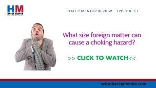 Size of a foreign matter choking hazard