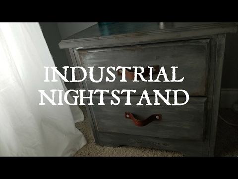 DIY:HOW TO PAINT INDUSTRIAL FARMHOUSE FAUX METAL NIGHTSTAND
