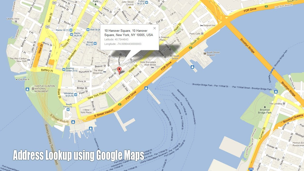 Address Lookup using Google Maps on satellite view of an addresses, map that shows street addresses, maps with addresses,