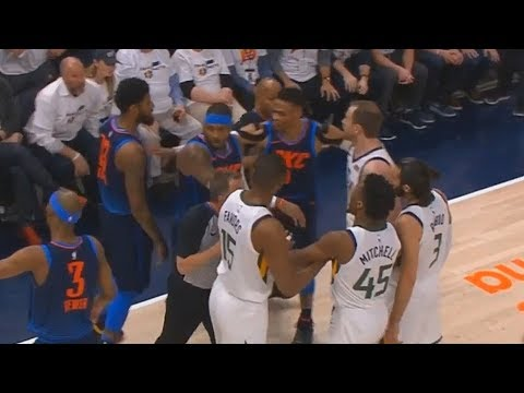 Paul George Shoves Joe Ingles  joe ingles