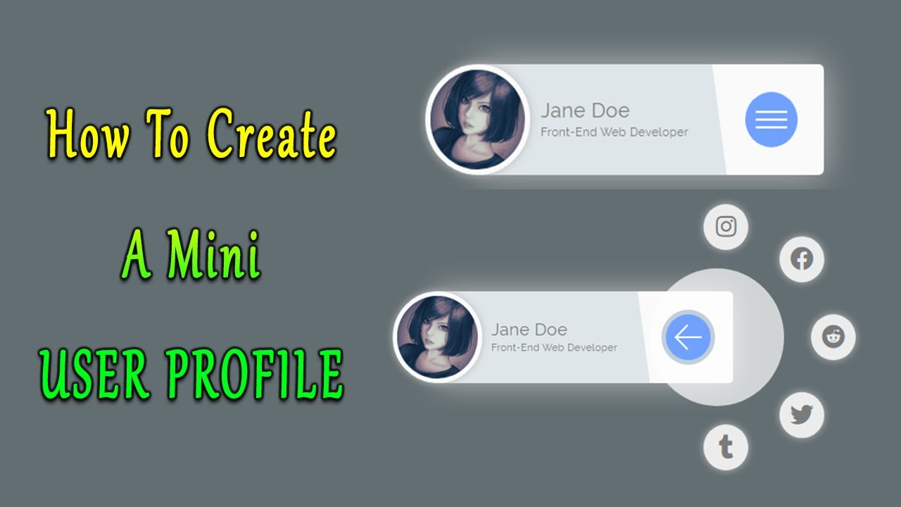 How To Create A User Profile Card Html Css Jquery | With Animated Social Icon