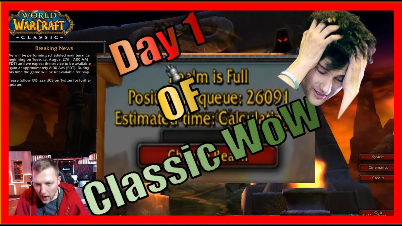 Day 1 of Classic WoW!!! Esfand gets shaved! Kungen and Athene are BACK!  Servers CRASH already!