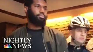 Outrage After Two Black Men Arrested At Philadelphia Starbucks | NBC Nightly News Protesters gathered