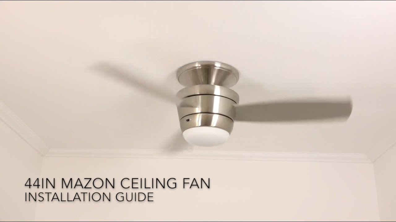 how to install the harbor breeze 44 in mazon led ceiling fan youtube