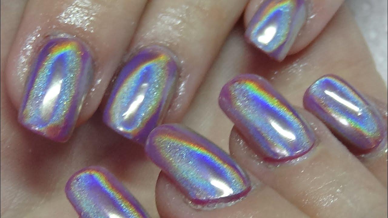 holographic acrylic nails using naio nails - YouTube