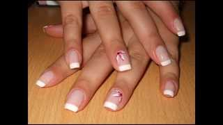 French Manicure with Flowers - Nail Art Tutorial (requested by dimondgem15)