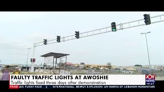 Faulty Traffic Lights at Awoshie: Traffic lights fixed 3 days after demonstration (7-8-20)