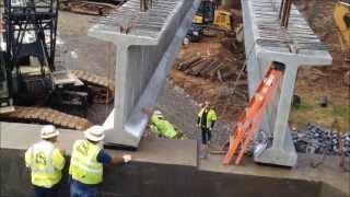 Edgewood Avenue bridge beam placement