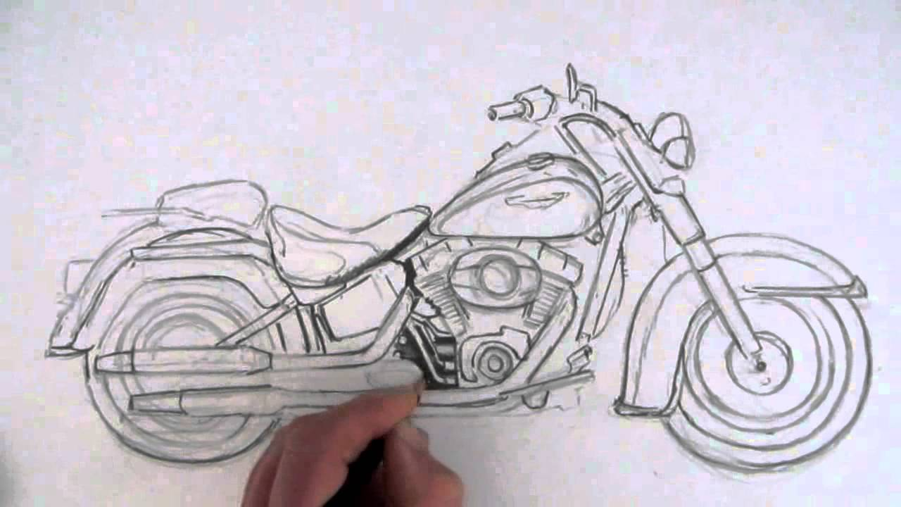 How to draw a motorcycle harley davidson softail youtube