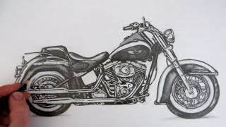 How to Draw a Motorcycle: Harley-Davidson Softail