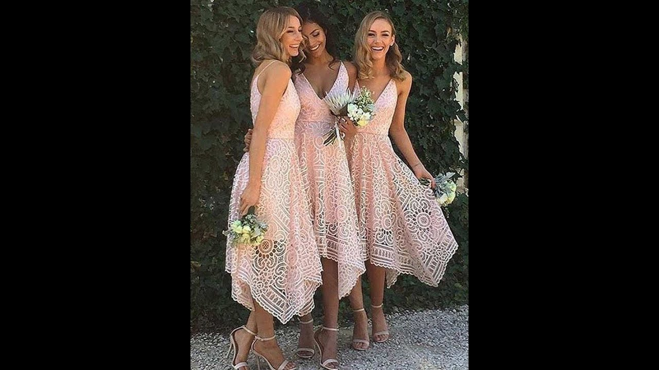 38dc3e08898 A-Line Princess V-neck Asymmetrical Lace Bridesmaid Dresses - Hebeos ...