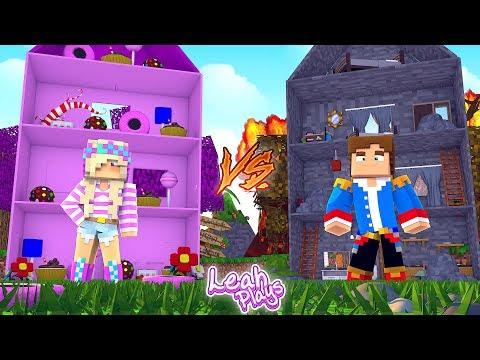 Minecraft Little Leah Plays - CANDY DOLL HOUSE VS ROCK DOLL HOUSE!!! w/ LITTLE DONNY