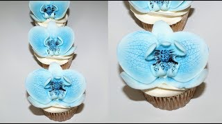 Cake decorating tutorials | how to make a FONDANT ORCHID CUPCAKE with no wire | Sugarella Sweets