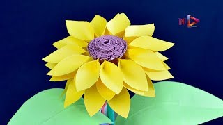 How to Make Paper Sunflowers Step by Step   Easiest Method*** Beautiful Paper Sunflower Tutorial