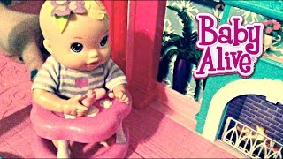 baby alive doll mia house sitting in barbie s dreamhouse tries to eat shopkins by zoe