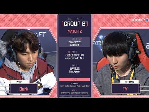 [2018 GSL Season 1]Code S Ro.16 Group B Match2 Dark vs TY