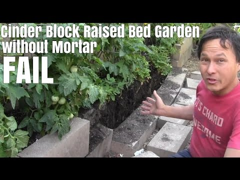 Cinder Block Raised Bed Garden Without Mortar Fail - 2 Year Update