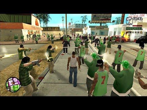 The Biggest Gang War In GTA San Andreas History! (100 Grove VS 100 Ballas)