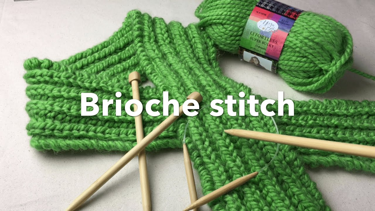 How to Knit Brioche stitch | Bulky Brioche Scarf on Needles - YouTube