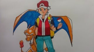 Drawing Pokemon Trainer Red with Charizard