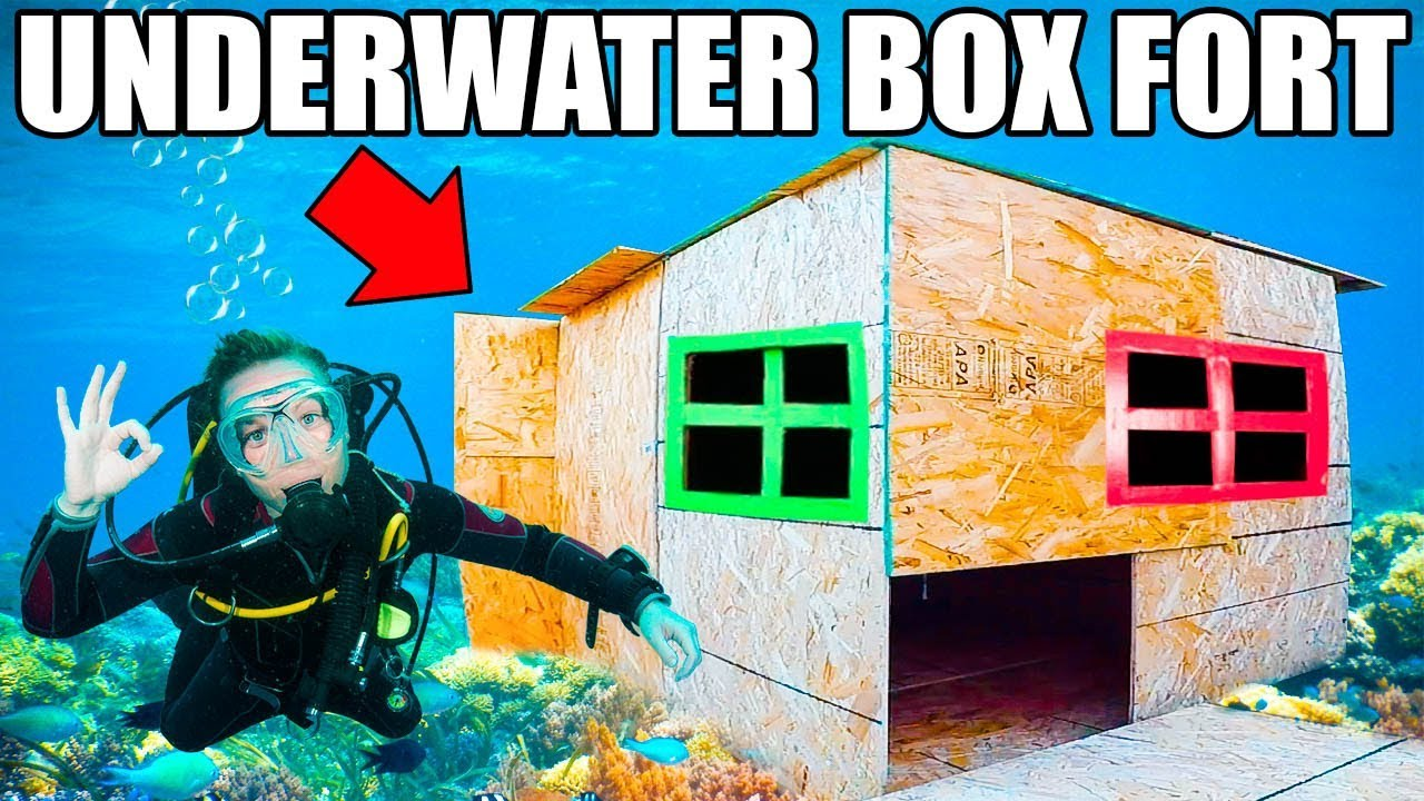 Real Underwater Box Fort Base 📦💦 Scuba Tanks Onboard