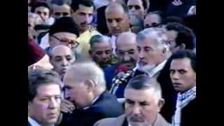 عبد الرحمان اليوسفي في تأبين وتوديع الفقيد عبد الرحيم بوعبيد بمقبرة الشهداء  10 يناير 1992