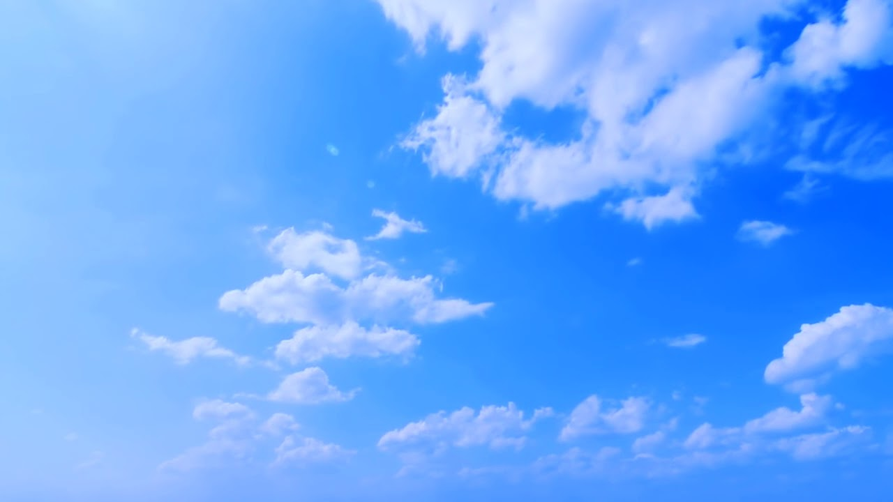 Deep Blue Sky Background. Video Footage. For Green Screen