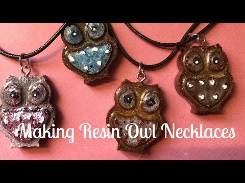 Making owl necklaces using Resin