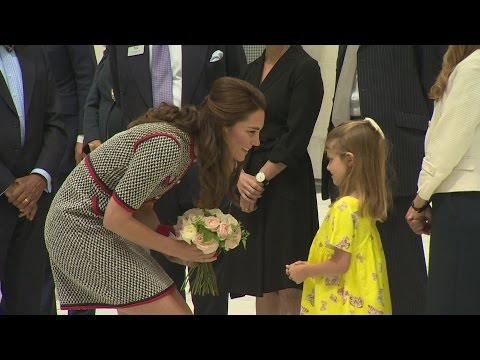 Adorable six-year-old presents Kate with flowers at V&A Museum