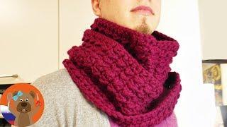 Зимний шарф снуд с геометрическим узором унисекс DIY вязание крючком