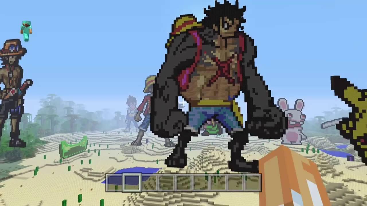 Pixel Art Luffy Gear 4 One Piece Minecraft Edition Xbox One Youtube