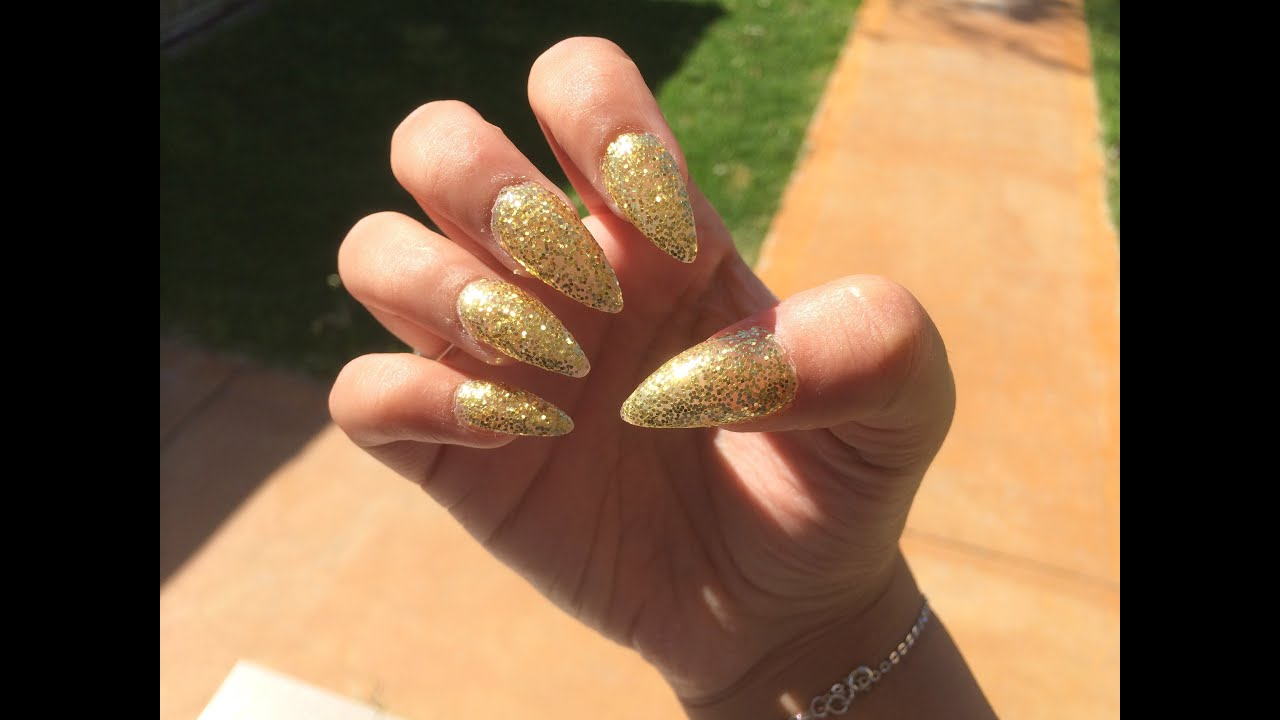 Gold Glitter Nails TUTORIAL - YouTube