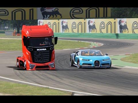 Bugatti Chiron vs Scania Truck – Monza