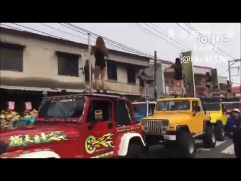 50 scantily-clad ladies pole dance atop jeeps for Taiwanese official's funeral