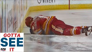 GOTTA SEE IT: Flames, Oilers Both Lay Down Bone-Crushing Hits In Opening Period