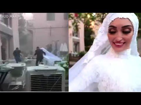 Novia posaba para las fotos segundos antes de la explosión en Beirut