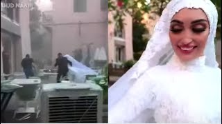 Video captured the terrifying moment when a bride, who was posing for photos on her wedding day, interrupted by massive explosion in beirut that kill...
