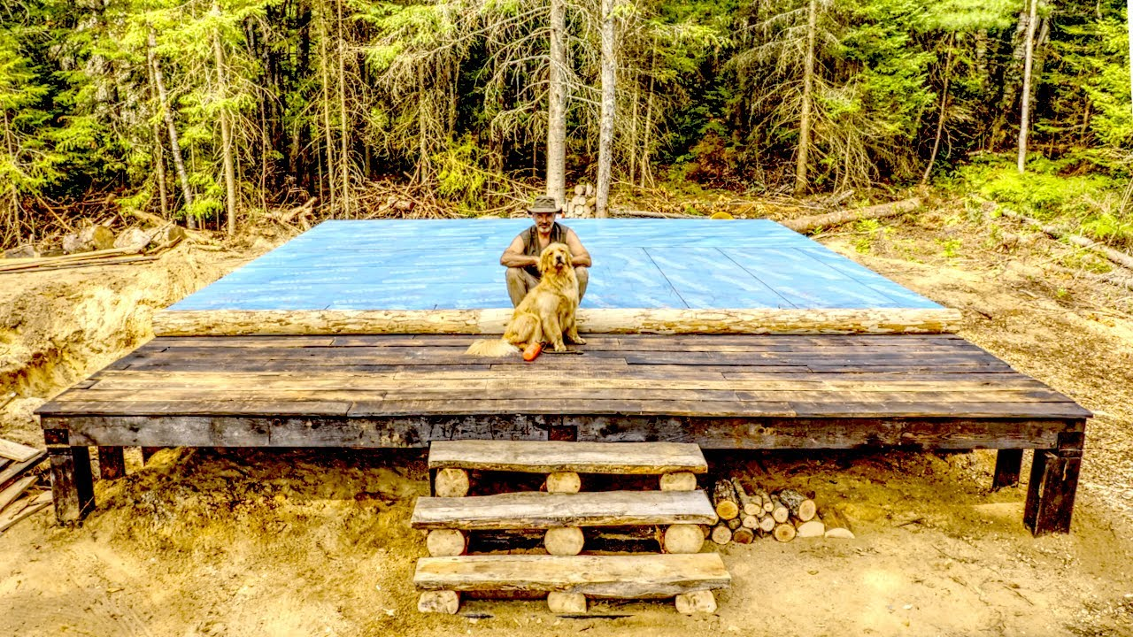 Building Stairs for the Front Porch on My Off Grid Log Cabin