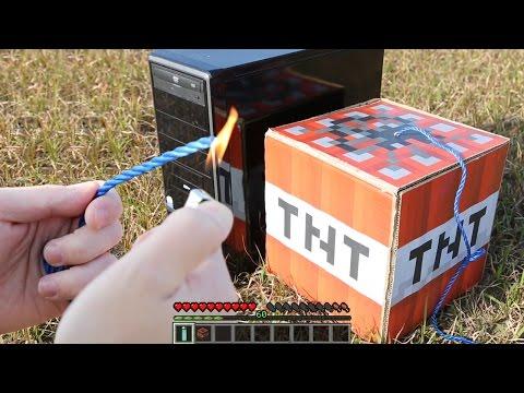 【実写マイクラ】本物のTNTでフリーズしたPC爆破するwww Minecraft in Real Life【マインクラフト】