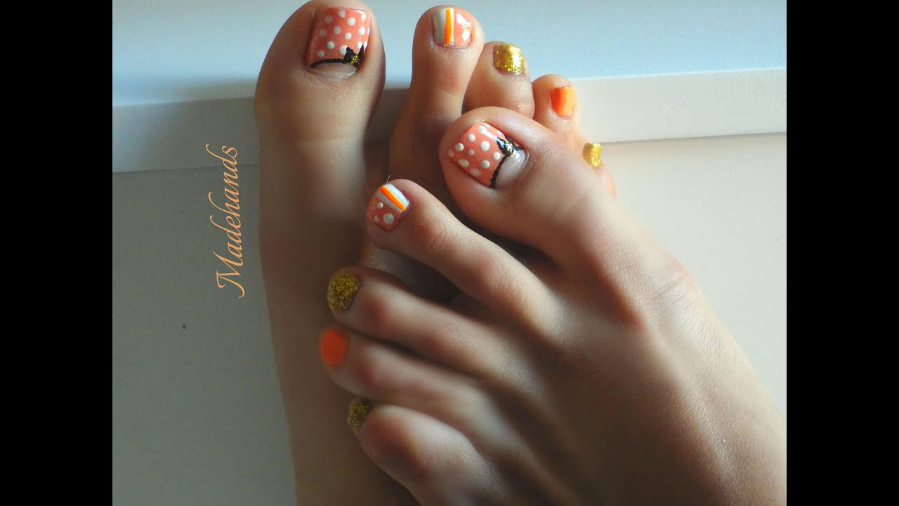 diseos de uaspedicure polka dots polka dots toe nail art design youtube