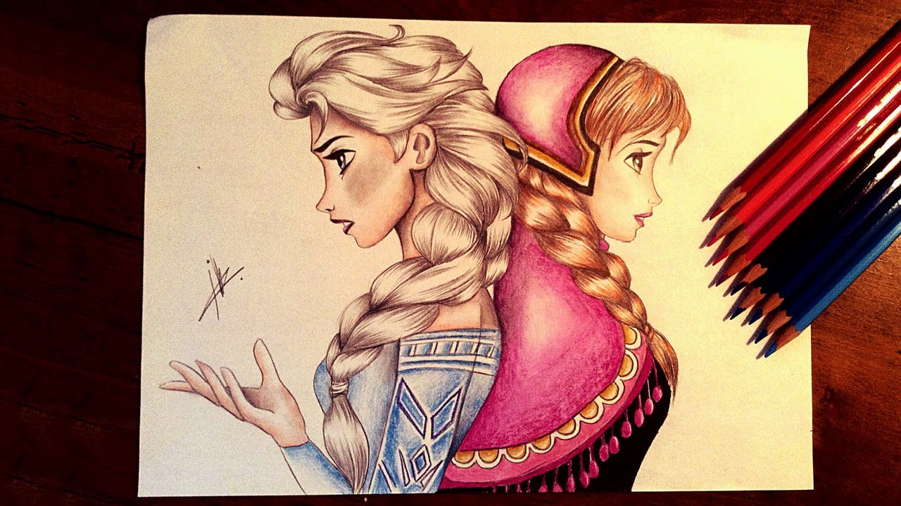 frozen drawing elsa and anna youtube