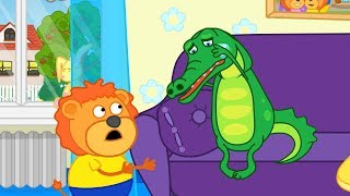Lion Family Crocodile is Cold in Winter Cartoon for Kids