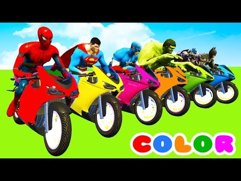 Thumbnail: MotorCycles COLOR for Babies in Cars Cartoon & Superheroes for kids