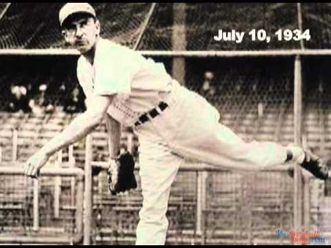 Carl Hubbell Strikes Out 5 Consecutive Future Hall Of Famers - Ruth, Gehrig, Foxx, Simmons & Cronin