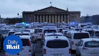 Ambulance workers protest in Paris following chaotic weekend