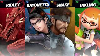 Super Smash Bros. Ultimate Gameplay (E3 2018) Ridley vs Snake vs Inkling Girl