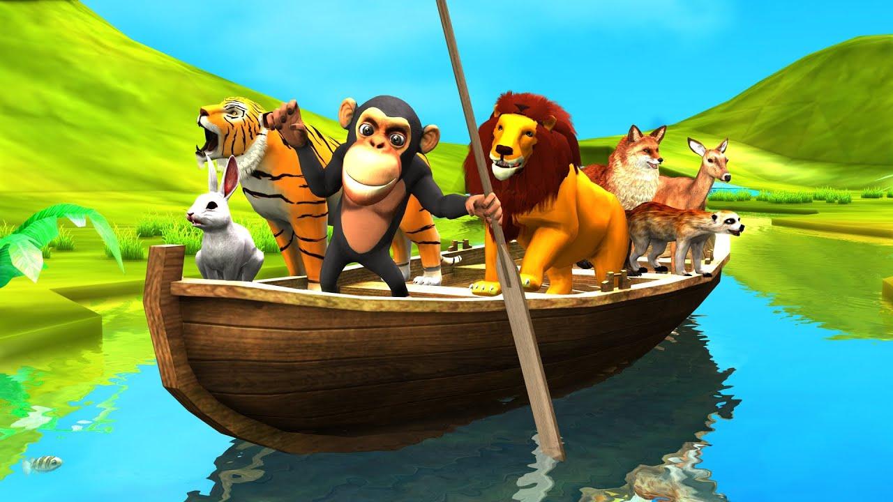 बंदर हिरण बाघ और जादुई नाव Monkey Deer Tiger and Magical Boat Hindi Kahaniya हिंदी कहनिया Stories