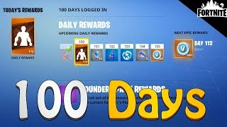 FORTNITE - Rewards You Get After Logging In 100 Days (Daily Login Loot)