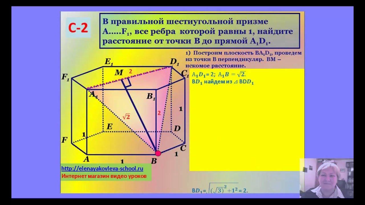 ЕГЭ С-2 Расстояние от точки до прямой.