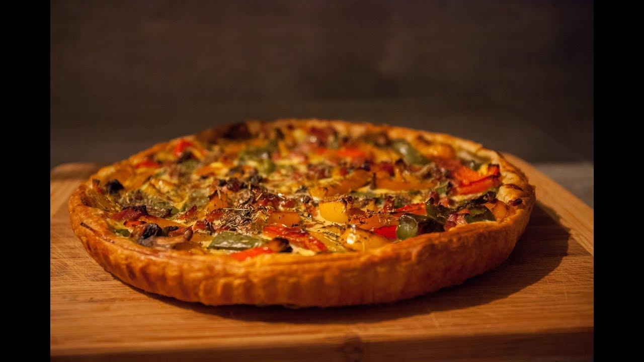 Quiche poivrons lardons et champignons la cuisine de for La cuisine de monica